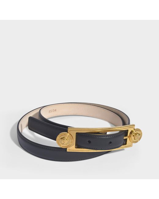 Versace Black Medusa Medallion Belt