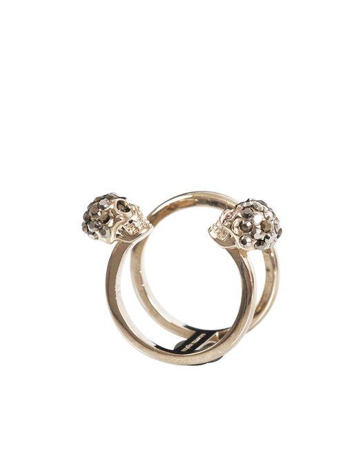 Alexander McQueen | Metallic Thin Twin Skull Ring | Lyst