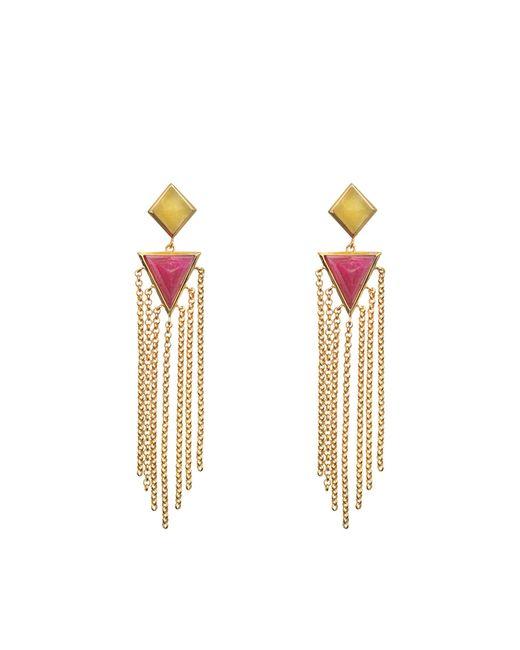 Isharya   Metallic Pyramid Quartz Fringe Exclusive Earrings   Lyst