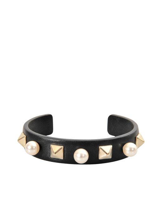 Valentino | Metallic Rockstuds Leather Pearl Bracelet | Lyst