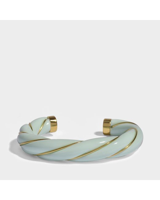 Aurelie Bidermann - Diana Twisted Bracelet In Baby Blue 18k Gold-plated Brass - Lyst