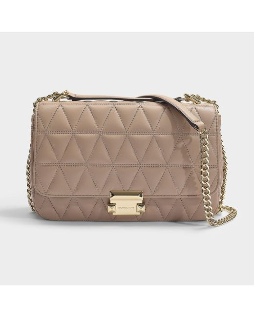 58253f4cef5c MICHAEL Michael Kors - Natural Sloan Large Chain Shoulder Bag In Truffle  Quilted Lambskin - Lyst ...
