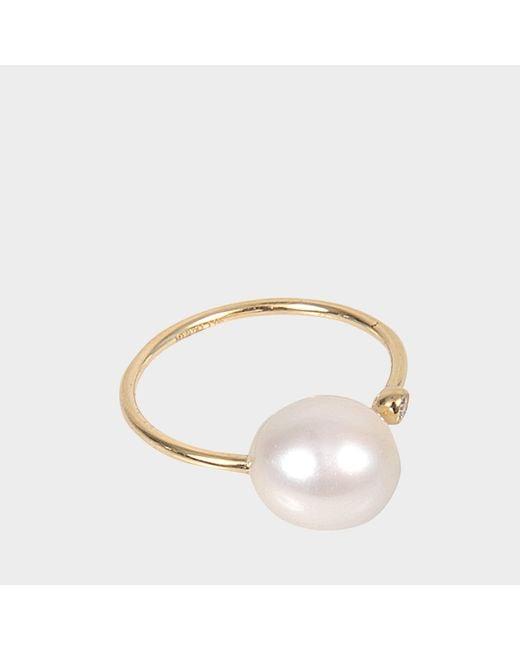 Mizuki - Metallic Open Diamond And Pearl Ring - Lyst