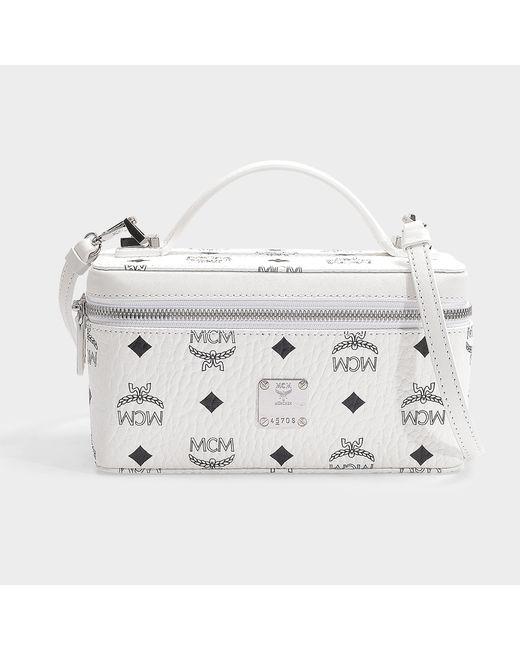 e2076a1ce MCM - Rockstar Vanity Case Mini Bag In White Coated Canvas - Lyst ...