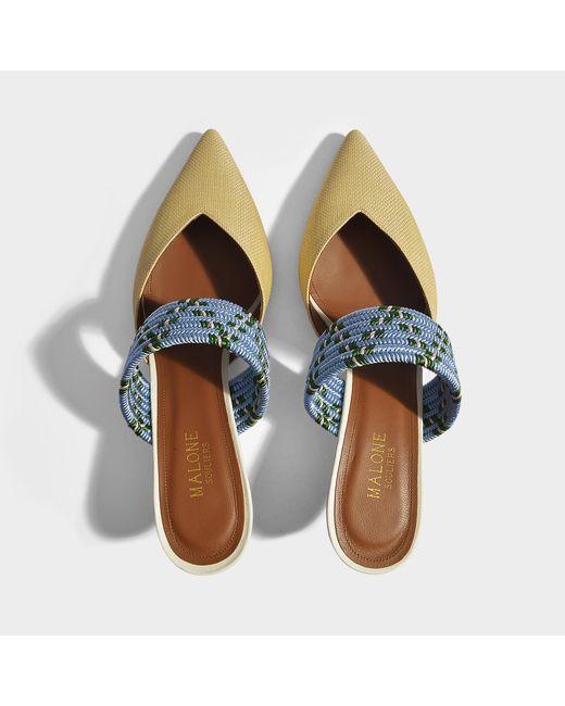 Chaussures Mule Raphia Maisie De Malone En Satin De Soie Bleu Naturel Et Cuir Nappa Métallique WEAi8