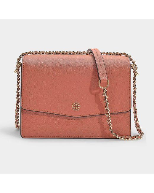 d320ad11b18 Tory Burch - Pink Robinson Convertible Shoulder Bag In Tramonto Calfskin -  Lyst ...