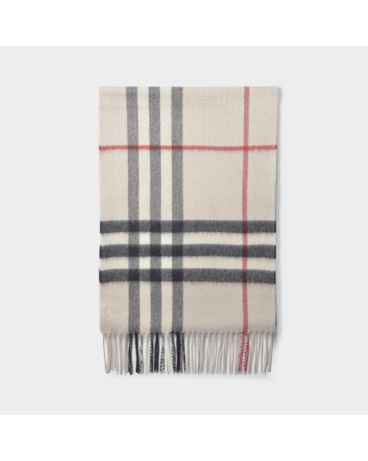 Burberry Natural Giant Icon Check Scarf In Stone Cashmere