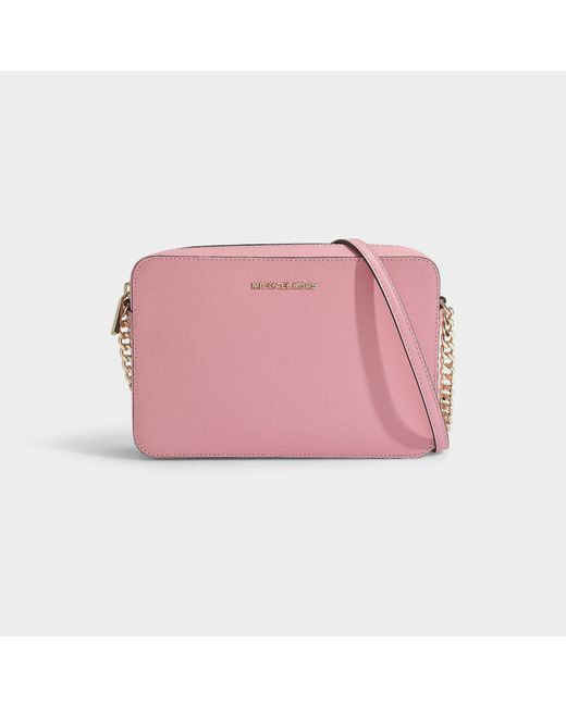 2ae99223eb0f84 MICHAEL Michael Kors - Pink Large East West Crossbody Bag In Carnation  Crossgrain Leather - Lyst ...
