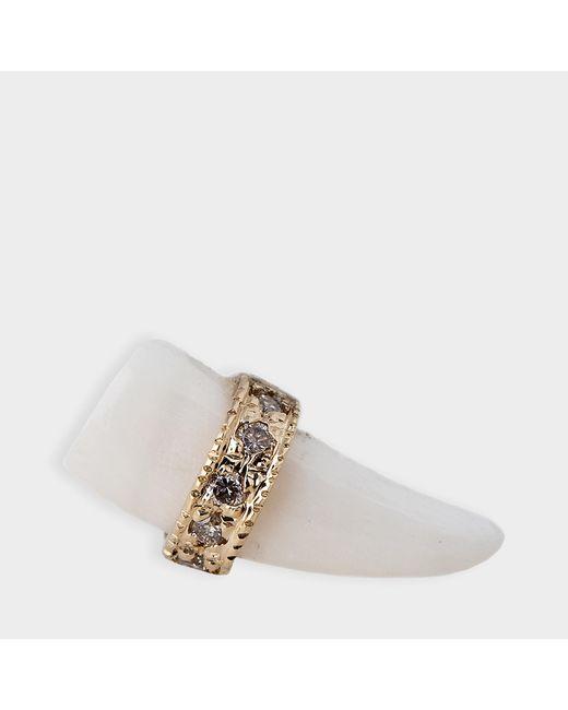 Jacquie Aiche - Metallic Pave Bone Tusk Stud Mono Earring In 14k Gold And Diamonds - Lyst
