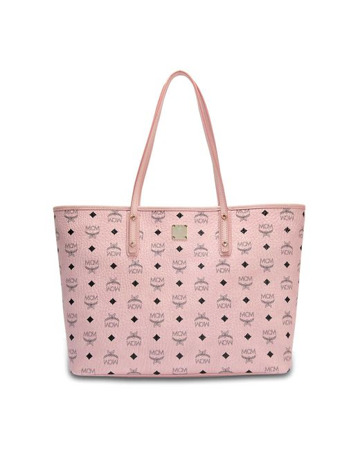 MCM - Anya Zipped Shopping Bag In Pink Limonta Visetos - Lyst