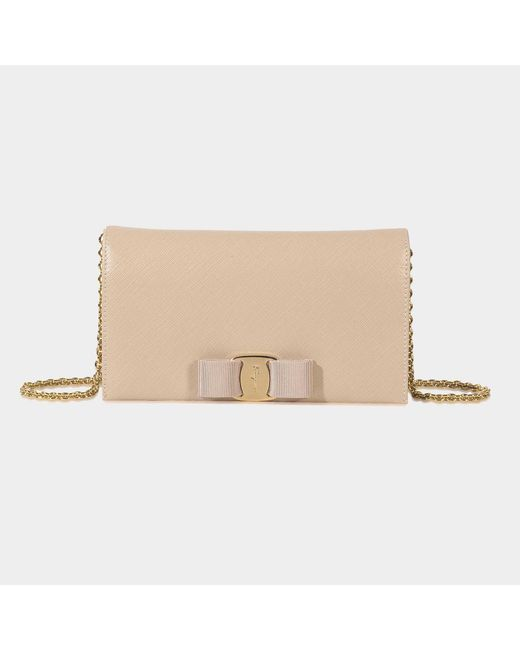 Ferragamo - Natural Ginny Wallet On Chain - Lyst