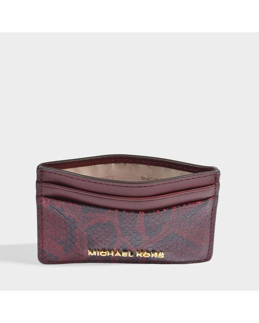 02a06d9b4de7 MICHAEL Michael Kors - Money Pieces Card Holder In Red Python Embossed  Leather ...
