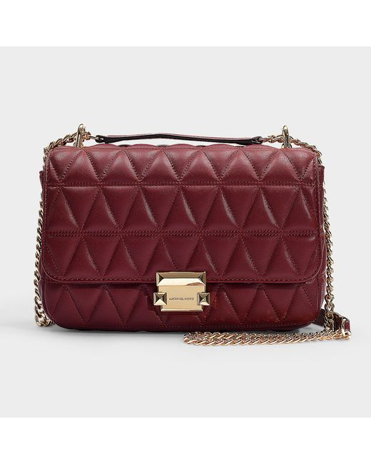 42e8c0dc7e63a MICHAEL Michael Kors - Multicolor Sloan Large Chain Shoulder Bag In  Burgundy Quilted Lambskin - Lyst ...