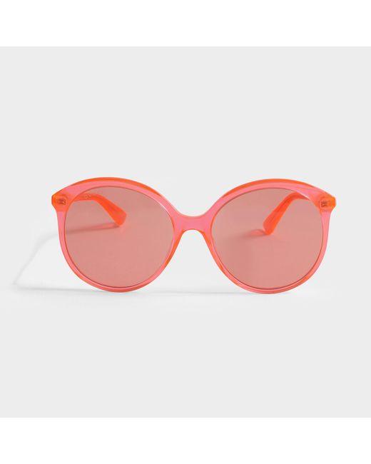 Gucci - Orange Sunglasses In Black Acetate - Lyst