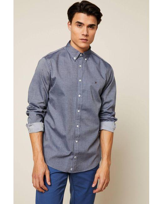695aabc2 Tommy Hilfiger - Blue Long Sleeve Shirt for Men - Lyst ...