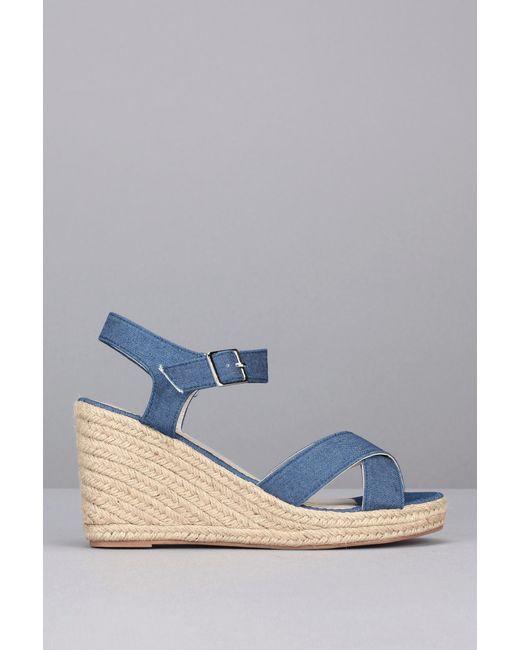Pieces | Blue Flat Sandal | Lyst