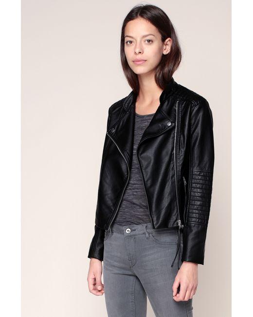 vero moda studded leather look biker jacket black in black lyst. Black Bedroom Furniture Sets. Home Design Ideas