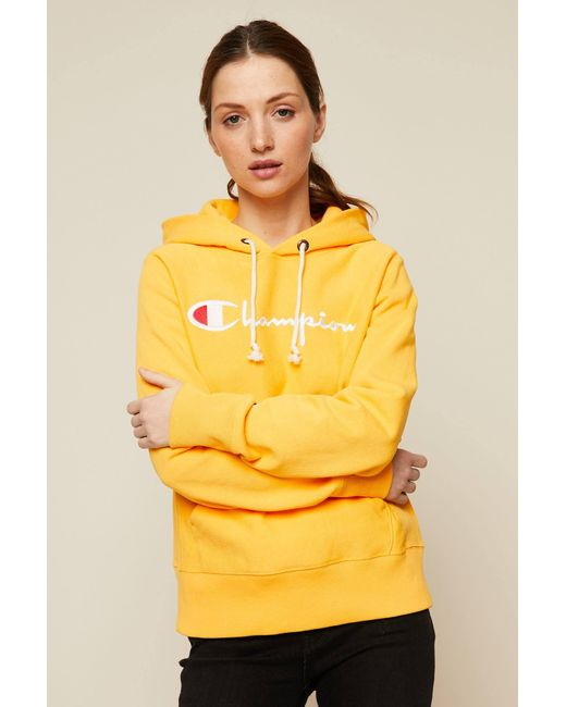 Champion - Yellow Cotton Hoodie - Lyst