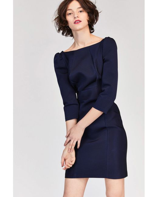 Tara Jarmon   Blue Ottoman Navy Dress   Lyst