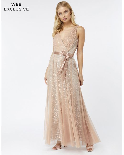 Monsoon   Natural Rosie Sequin Tulle Maxi Dress   Lyst