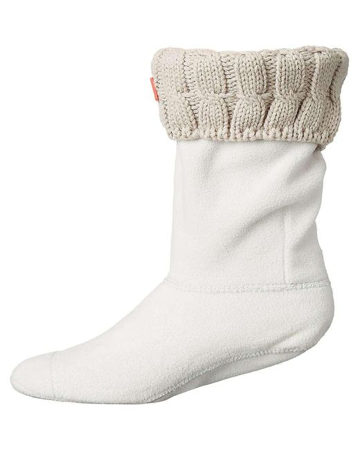 Hunter - White Original 6 Stitch Cable Short Boot Sock - Lyst