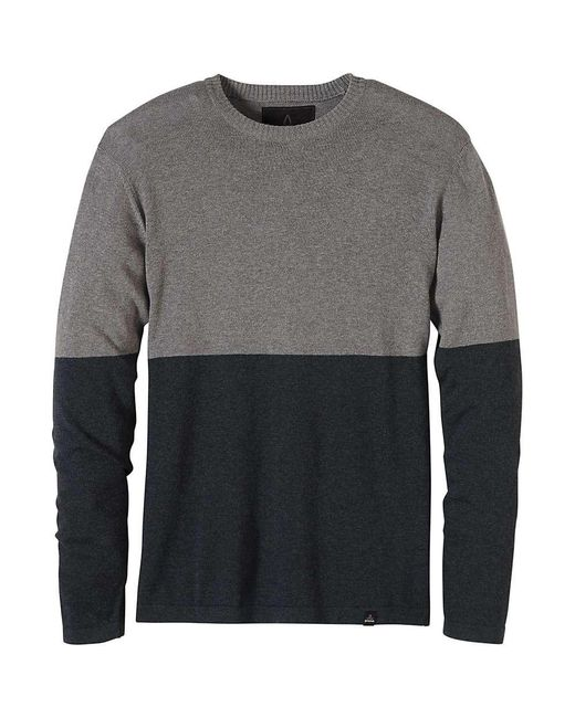 Prana - Gray Colorblock Sweater Crew for Men - Lyst
