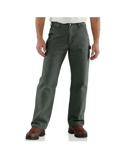c68a67755cd5 Carhartt - Green Washed Duck Work Dungaree Flannel Lined Pant for Men - Lyst