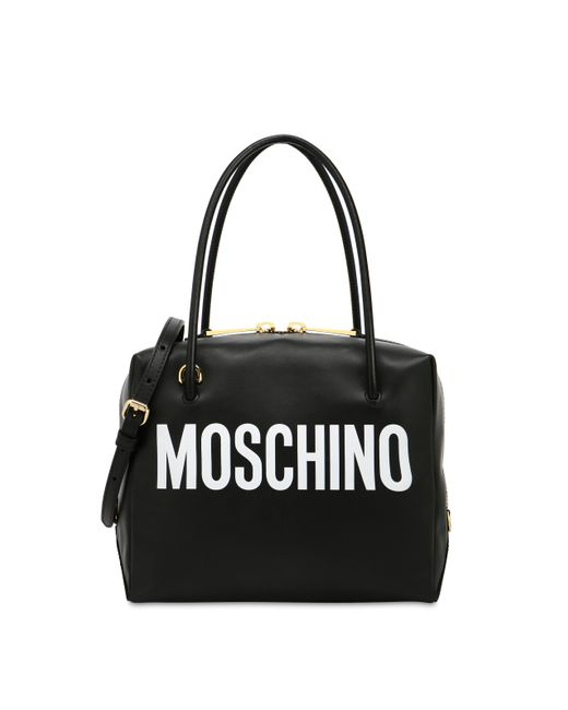 398185d27786b Moschino - Black Leather Boston Bag With Logo - Lyst ...