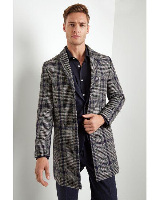 Moss London - Multicolor Slim Fit Bold Check Overcoat for Men - Lyst