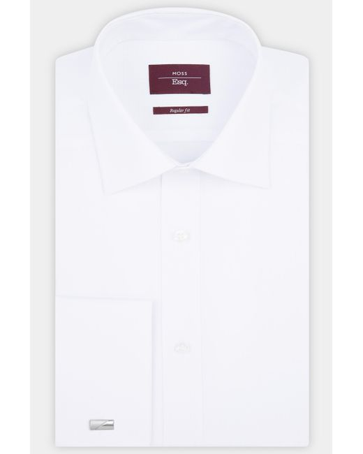 Moss Esq. - Regular Fit White Single Cuff Grid Check Shirt for Men - Lyst