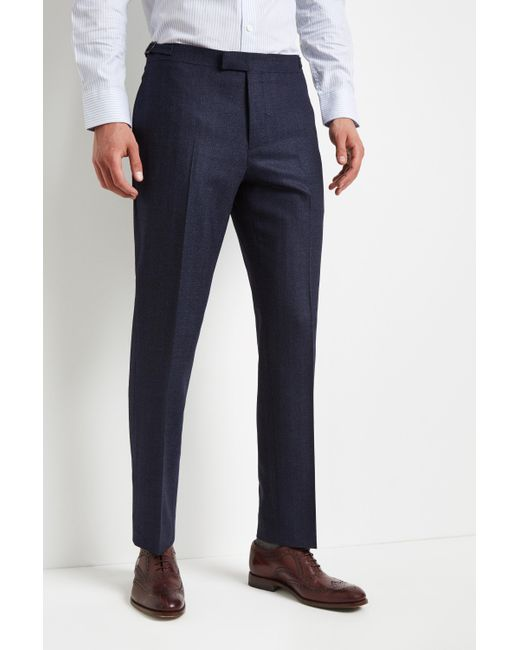 Hardy Amies - Blue Tailored Fit Indigo Herringbone Trouser for Men - Lyst