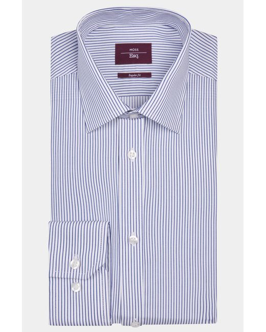 Moss Esq. - Regular Fit Blue Single Cuff Stripe Shirt for Men - Lyst