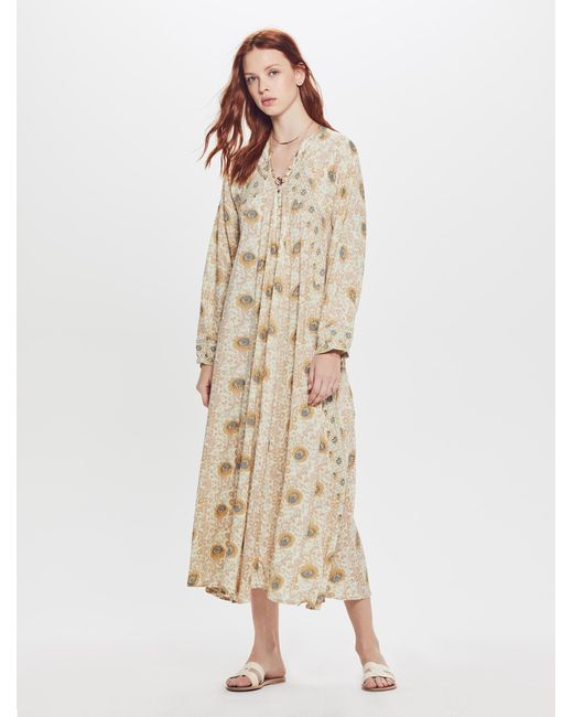 71b097c98ae Natalie Martin - Natural Fiore Maxi Rayon Dress Vintage Flowers Sand - Lyst  ...