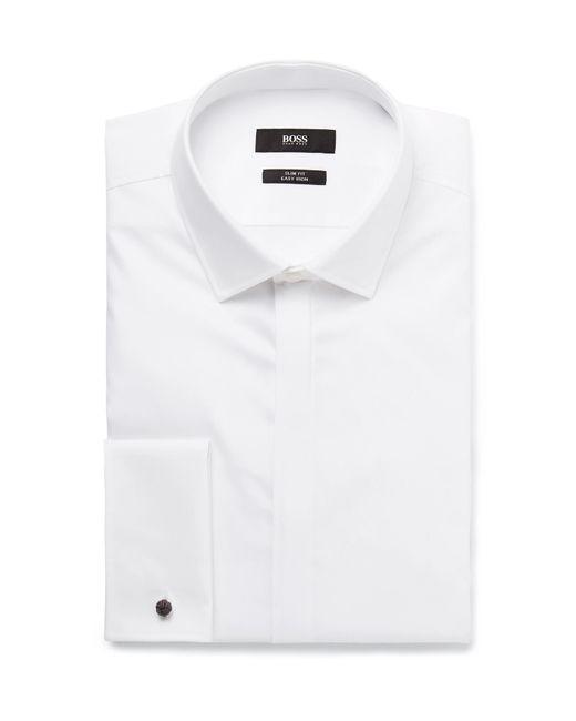 BOSS - White Jilias Slim-fit Double-cuff Cotton Oxford Shirt for Men - Lyst