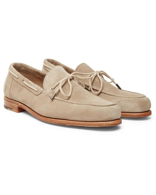 John Lobb - Natural Byrne Suede Loafers for Men - Lyst