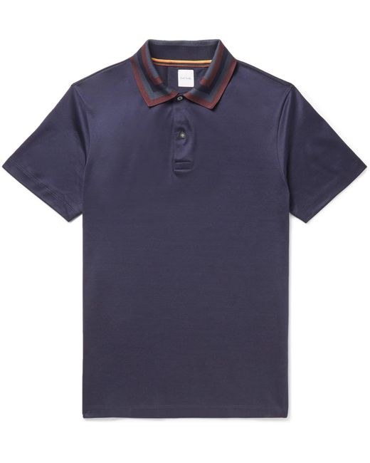 Paul Smith | Blue Slim-fit Contrast-tipped Cotton-jersey Polo Shirt for Men | Lyst