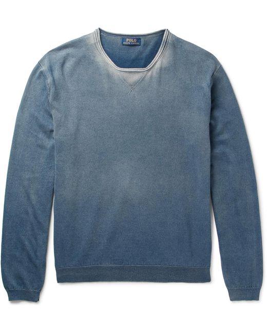 Polo Ralph Lauren | Blue Washed Cotton-jersey Sweatshirt for Men | Lyst