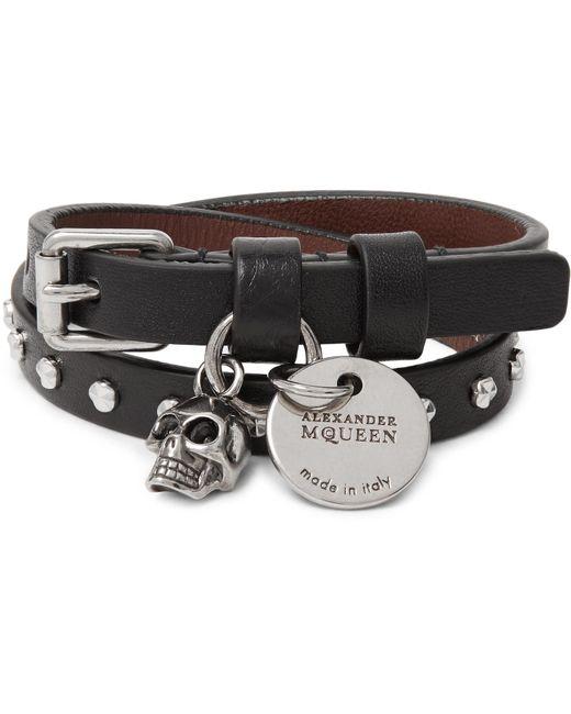 Alexander McQueen | - Studded Leather Wrap Bracelet - Black for Men | Lyst