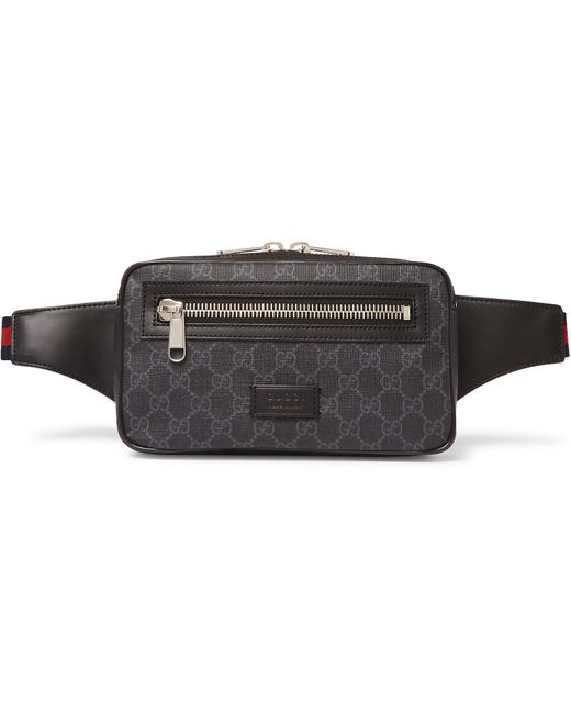 7a4b4e4e4 Gucci - Black Leather-trimmed Monogrammed Coated-canvas Belt Bag for Men -  Lyst