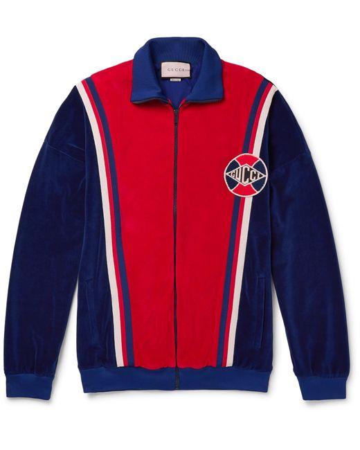 Gucci Blue Logo-appliquéd Striped Cotton-blend Sweatshirt for men
