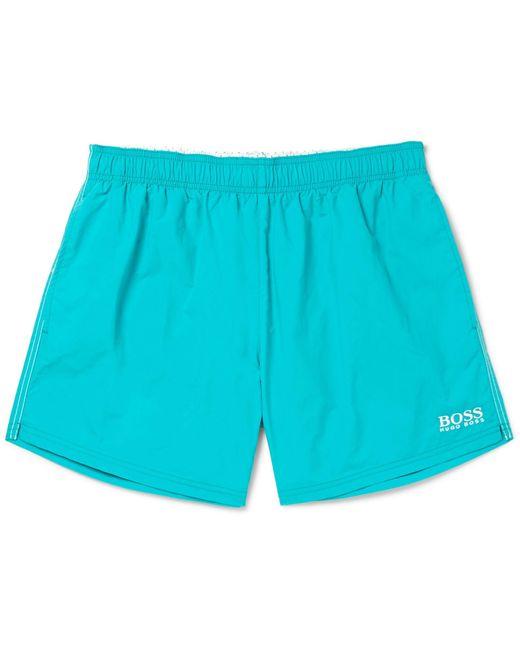 BOSS - Blue Short-length Embroidered Swim Shorts for Men - Lyst