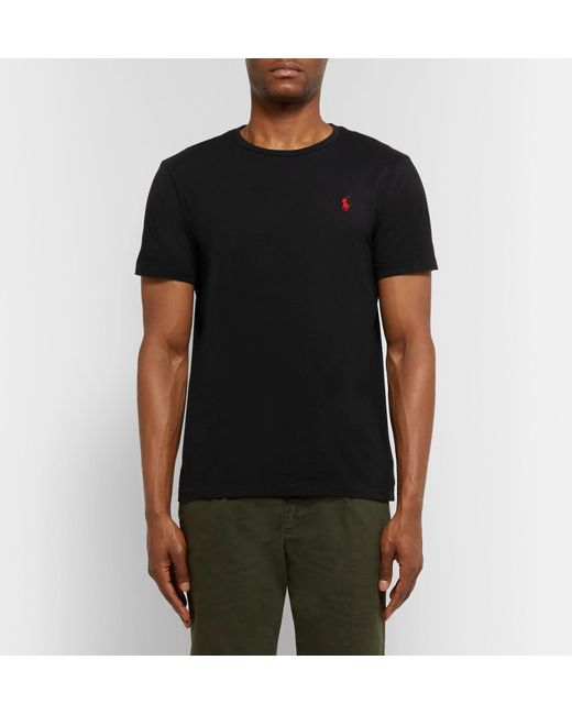 adbff84b3 ... Polo Ralph Lauren - Black Custom Fit Crew Neck T-shirt for Men - Lyst  ...