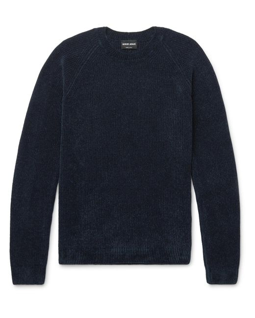 Giorgio Armani   Blue Mélange Ribbed-knit Sweater for Men   Lyst