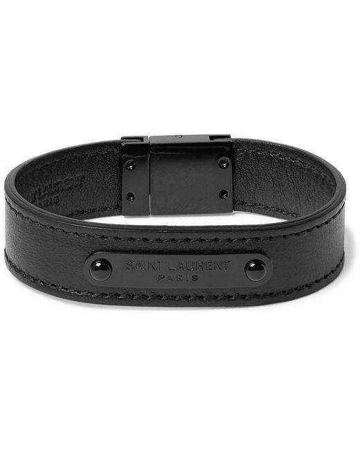 Saint Laurent   Black Metal Leather Bracelet for Men   Lyst