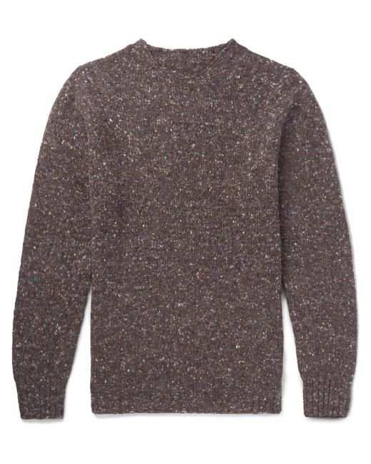 Anderson & Sheppard - Brown Donegal Wool And Cashmere-blend Sweater for Men - Lyst