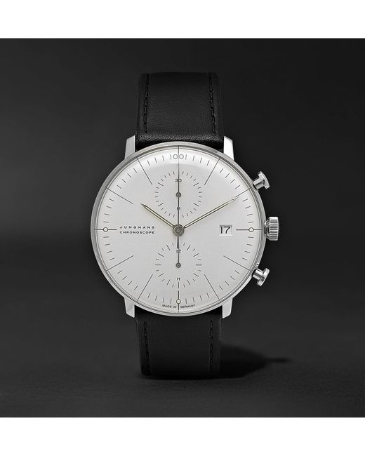 Junghans - White Max Bill Chronoscope 40mm Stainless Steel And Leather Watch for Men - Lyst