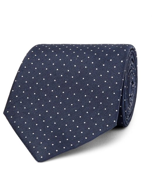 Hackett | Blue 8cm Pin-dot Silk And Linen-blend Tie for Men | Lyst