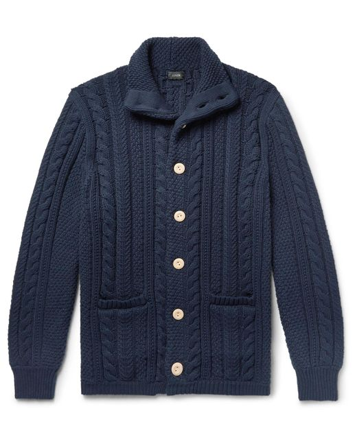 J.Crew - Blue Cable-knit Cotton Cardigan for Men - Lyst