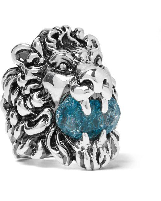 Gucci   Metallic Lion's Head Silver-tone Swarovski Crystal Ring for Men   Lyst