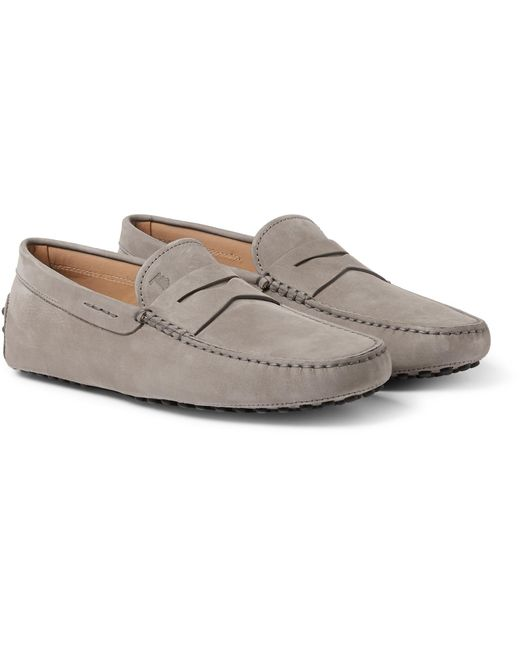 Tod's | Gray Gommino Nubuck Driving Shoes for Men | Lyst